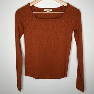 NWT Madewell Burnt Clay Square-Neck Long Sleeve